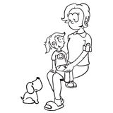 Simple black and white mom, girl and dog. Cartoon vector illustration