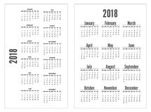 Simple black and white pocket calendar years. Week starts from sunday. Portrait orientation. Stationery Design Template. 12 Months Royalty Free Stock Photography