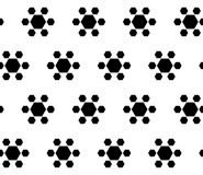 Simple black & white seamless pattern, geometric flowers. Vector monochrome seamless texture. Abstract geometric flowers, simple black hexagonal figures on white Stock Image