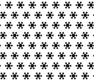 Simple black & white seamless pattern, geometric flowers. Vector monochrome seamless texture. Abstract geometric flowers, simple black hexagonal figures on white Royalty Free Stock Photo