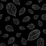 Simple black and white seamless pattern with raspberry leaves. Monochromatic. Stock Photography