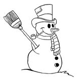 Simple black and white snowman Stock Photo