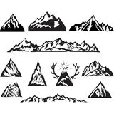 Simple black and white vector mountain Stock Photos