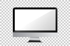 Simple Blank Computer Monitor, at Transparent Effect Background vector illustration