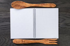 Simple blank notepad on rustic wood table Royalty Free Stock Images