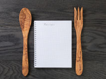 Simple blank notepad with word recipe on rustic Royalty Free Stock Photography