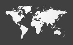 Simple blank vector map of the world vector illustration