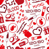 Simple blood vector icons seamless pattern Stock Images