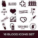 16 simple blood vector icons set. Eps10 vector illustration