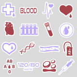 16 simple blood vector stickers set. Eps10 royalty free illustration