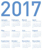 Simple Blue Calendar for year 2017. In vector format Stock Photo