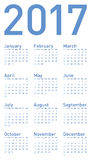 Simple Blue Calendar for year 2017 Royalty Free Stock Photos