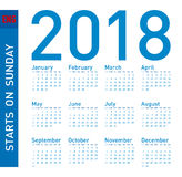 Simple Blue Calendar for year 2018, Week starts on Sunday vector illustration