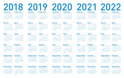 Simple Blue Calendar for years 2018,2019, 2020, 2021 and 2022. Simple Blue Calendar for years 2018, 2019, 2020, 2021 and 2022, in vector format Stock Image