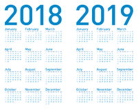 Simple Blue Calendar for years 2018 and 2019 stock illustration