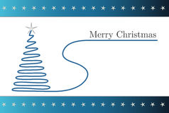 Simple blue christmas card. With silver stars Royalty Free Stock Images