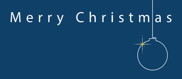 Simple blue Christmas card - white text and ball Royalty Free Stock Photos