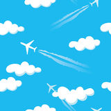 Simple blue cloudy sky airplanes seamless pattern. Simple blue cloudy sky heaven airplanes seamless pattern background Vector Illustration