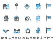 Simple blue color real estate icons set Royalty Free Stock Photos