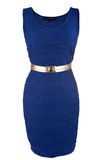 Simple blue dress with golden belt Royalty Free Stock Images