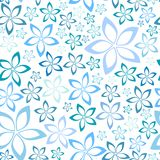 Simple blue floral seamless pattern Stock Images