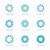 Simple blue geometric abstract symmetric shapes. Set. Modern business icon collection. Logo template. Hexagon round ornament. Vector symbols, emblems, element Stock Photos