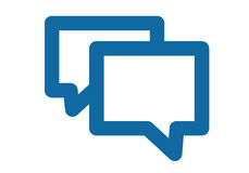 A simple blue icon about the message, chat or conversation. Two bubbles overlapping each other. Laconic flat and simple contours royalty free illustration