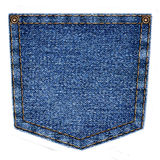 Simple blue jeans pocket isolated on white background Royalty Free Stock Images