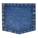 Simple blue jeans pocket isolated on white background Royalty Free Stock Image