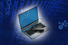Simple blue laptop with mouse Royalty Free Stock Images
