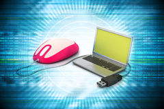 Simple blue laptop with mouse Stock Image