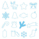 Simple blue outline merry christmas icons Stock Photo
