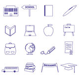 Simple blue outline school icons set eps10 Royalty Free Stock Photos
