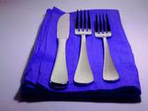 Simple Blue place setting. Place setting with blue napkin Stock Images