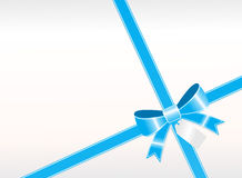 A simple blue ribbon with tag Stock Photography