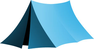 Simple blue tent. Blue vector tent, camp and hiking equipment Stock Image