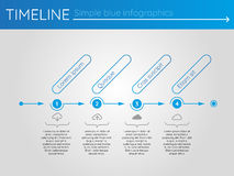 Simple blue timeline 5, infographics. For buisness presentation Royalty Free Illustration