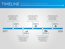 Simple blue timeline 18, infographics. For buisness presentation Royalty Free Illustration
