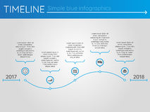 Simple blue timeline 19, infographics. For buisness presentation Stock Images