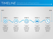 Simple blue timeline 16, infographics. For buisness presentation Royalty Free Stock Photo