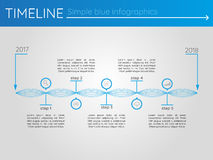 Simple blue timeline 7, infographics. For presentation Royalty Free Stock Photo