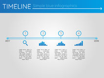 Simple blue timeline 6, infographics. For presentation Royalty Free Stock Images