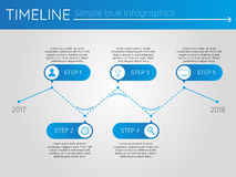 Simple blue timeline 8, infographics. For presentation Stock Photo