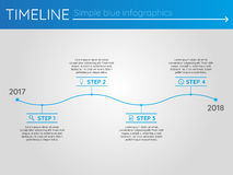 Simple blue timeline 9, infographics. For presentation Stock Photography