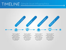 Simple blue timeline 4, infographics vector. For buisness presentation Vector Illustration