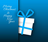 Simple blue  vector card with christmas gift made from paper stripe Stock Images