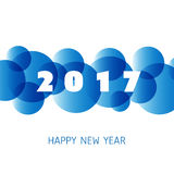 Simple Blue and White New Year Card, Cover or Background Design Template - 2017 Royalty Free Stock Images