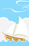 Simple Boat at Sea Royalty Free Stock Photo