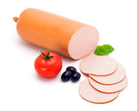 Simple bologna sausage and slices Royalty Free Stock Photo