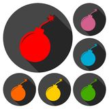 Simple bomb icons set with long shadow Stock Image